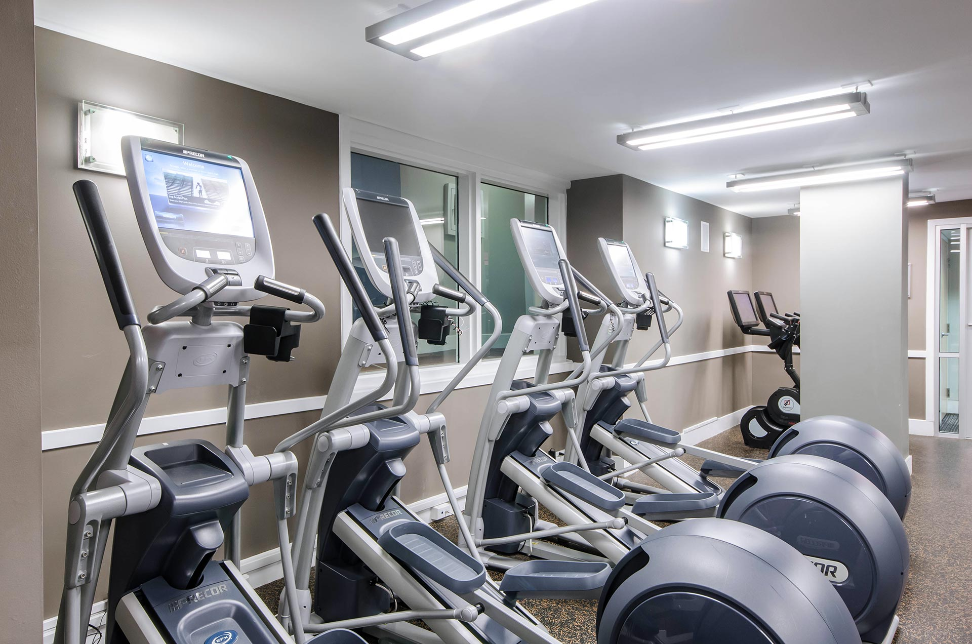 Closeup shot of elliptical machines in the fitness room